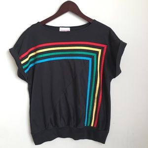 Vintage Tops - Vintage Young Stuff Rainbow Stripe Top